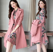 Ladies Office Wear Dress Suits for Women Long Trench Coat and Knee Length Dress Two 2 Piece Set Women Formal Dresses Suit Pink
