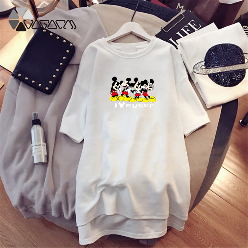 Autumn Women Night Dress Mickey Minnie Cartoon Print Casual Loose White Women Clothing Big Size Mini Sleepwear Fashion Harajuku in Dresses from Women 39 s Clothing