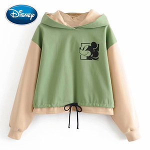 Disney Stylish Mickey Mouse Cartoon Print Green Contrast Color T-Shirt Hoodie Pullover Harajuku Long Sleeve Drawstring Hem Tops