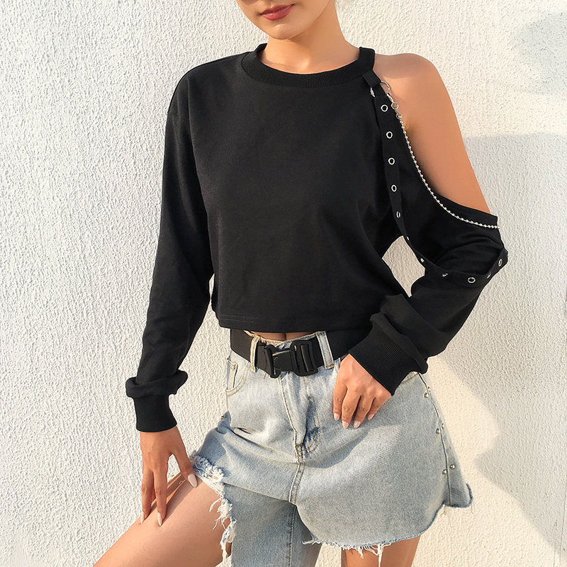 Gothic Black Sexy Women O-Neck One Shoulder Long Sleeve Splice Eyelet Straps Spring T-shirt Goth Female Dark Chain Loose Tops
