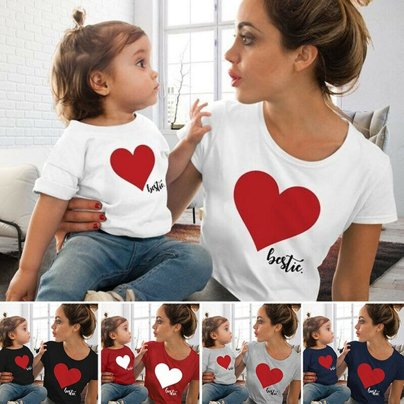 Family Matching Clothes Mommy And Me Mother Daughter Son Heart Printed T-Shirt Summer Short Tops Blouse Lovely Family Look 3-9Y