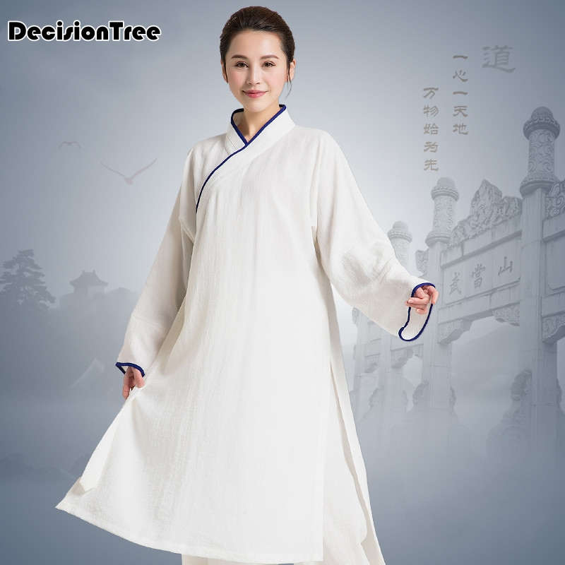 2019 Chinese Martial Arts Performance Suit Jiu Jitsu Wushu Kung Fu Uniform Tai Chi Suit Chiffon Robe Tai Chi Exercise Clothing
