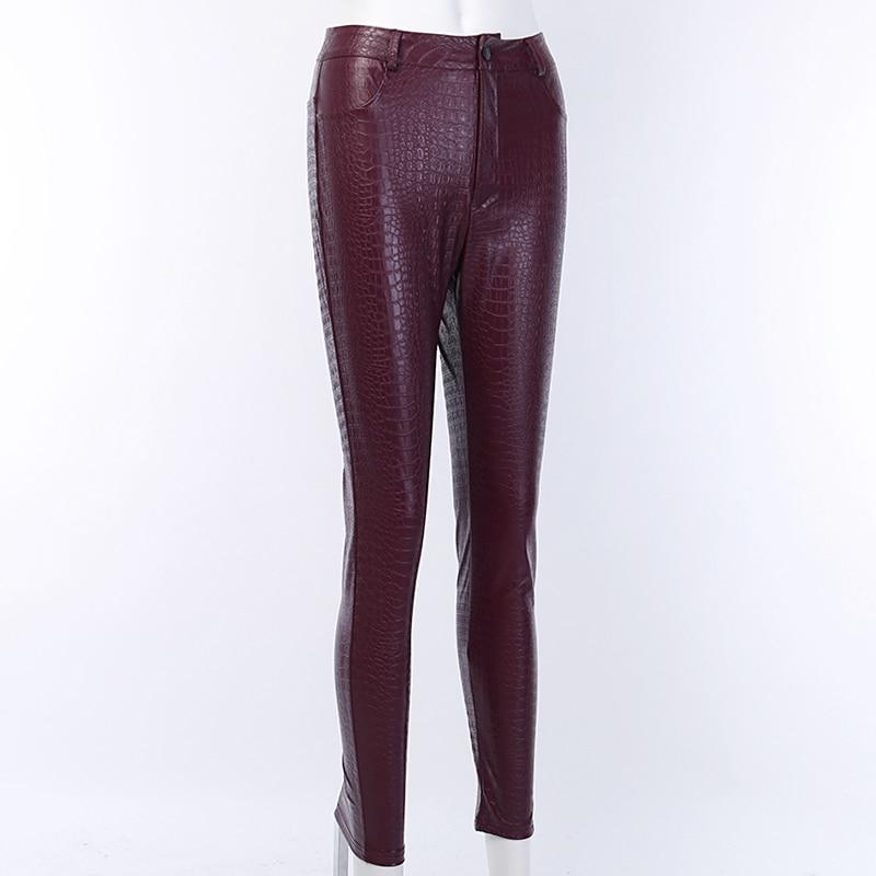 InstaHot Black High Waist Pencil Faux Leather Pants Women Casual Elegant Carving Print Ankle Length Pants Streetwear Trousers 49
