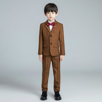 YuanLu Boys Suits For Wedding Party Piano Kids Suits Baby Tuxedo Blazer Dress Child Clothes Formal Costume Coffee Color