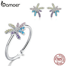 bamoer 925 Sterling Silver Colorful Peony Firework Free Size Finger Rings and Stud Earrings for
