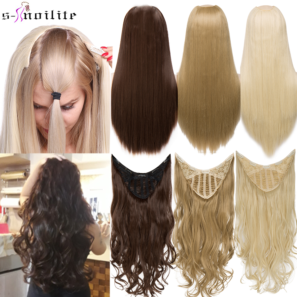 SNOILITE U-Part Synthetic Hair Extension Clips In One Piece Wavy 3/4 Full Head Wig Long False Hairpieces Brown Black For Women