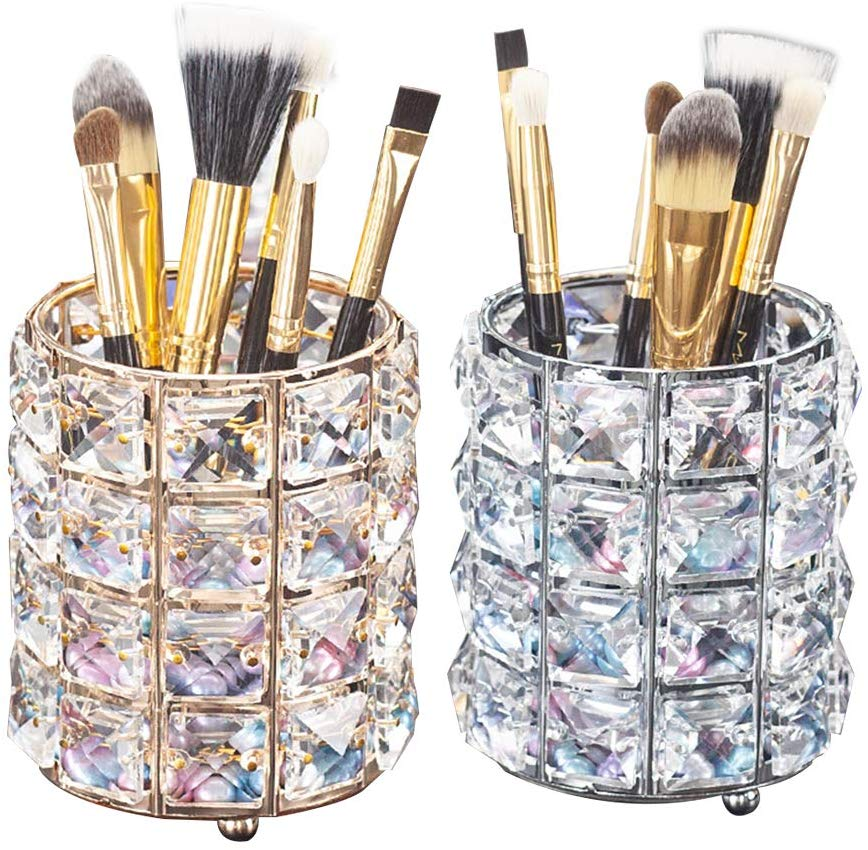 Crystal <font><b>Beads</b></font> Makeup Brush Holder Silver Bling Handcrafted Comb Brush Pen Pencil Holder Pot Storage Cosmetic Tools <font><b>Organizer</b></font> image