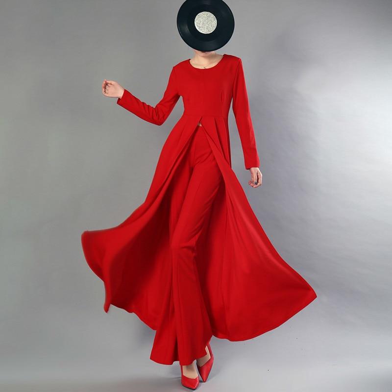 Lanmrem 여성을위한 2 조각 세트 긴 소매 풀오버 롱 탑 + 높은 허리 플레어 바지 2019 봄 패션 새로운 기질 yg688-에서여성 세트부터 여성 의류 의  그룹 1