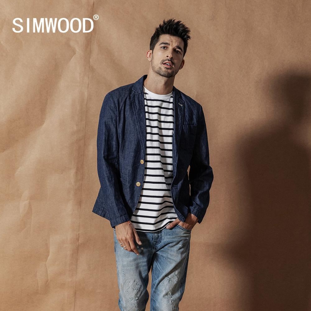 SIMWOOD 2020 Spring New Casual Blazer Men Denim Jackets Casual Suits Jacket High Quality Plus Size 100% Cotton Coats  SI980543