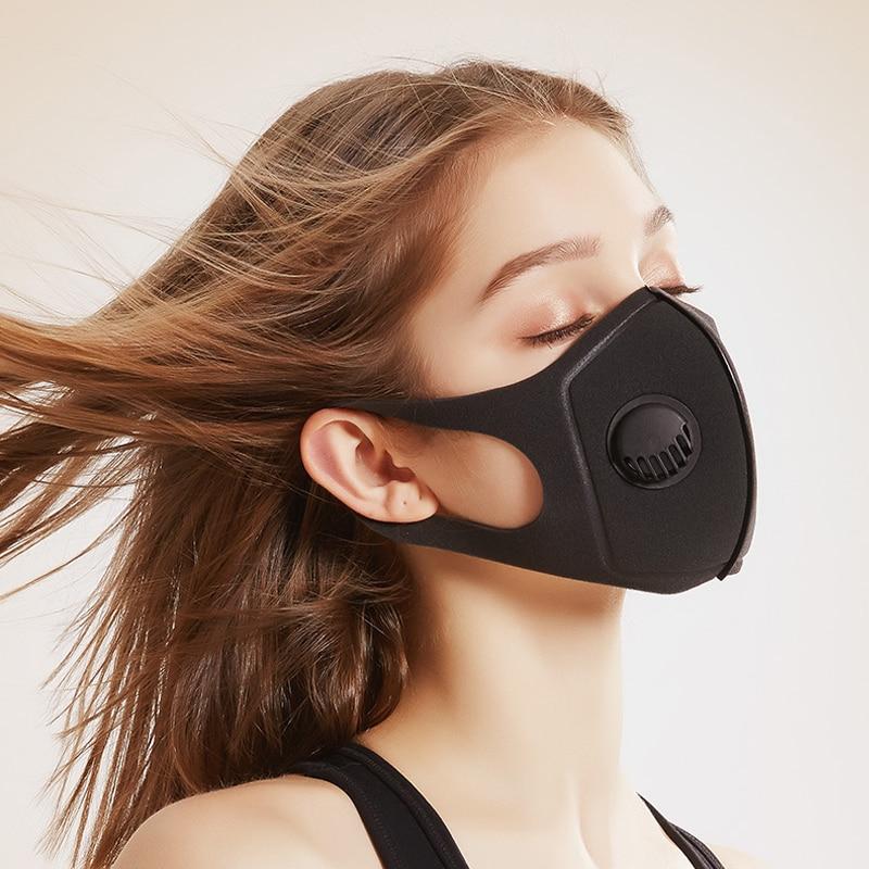 Маска для лица респиратор Пылезащитная маска против загрязнения воздуха PM2.5 фильтр дыхательный клапан Моющиеся Многоразовые маски для лиц...