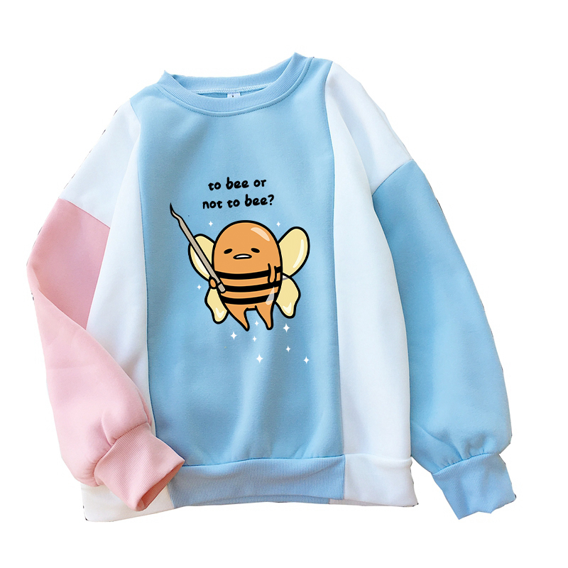 Gudetama To Bee Or Not To Bee Hoodies Women Fleece Colorblock Patchwork Sweatshirts Casual O-neck Streetwear Kawaii Cartoon Tops