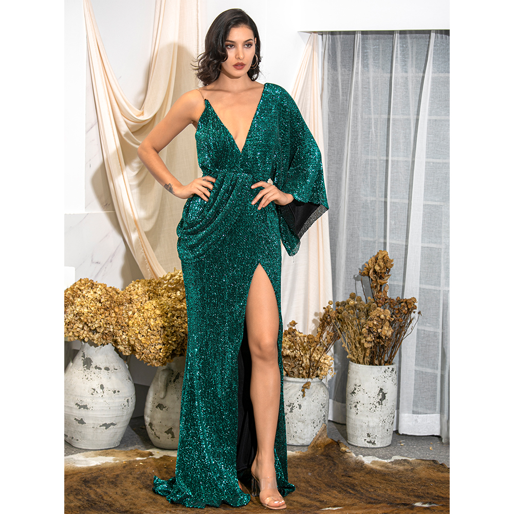 LOVE&LEMONADE Sexy Green V-Neck Single Sleeve Sequins Split Party Maxi Dress LM81848 Autumn/Winter