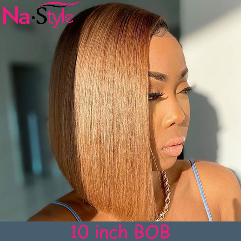4/27 Ombre Honey Blonde 13X6 Lace Front Human Hair Wig Pre Plucked Blunt Cut Bob Wig Colored Human Hair Wigs 150 For Black Women