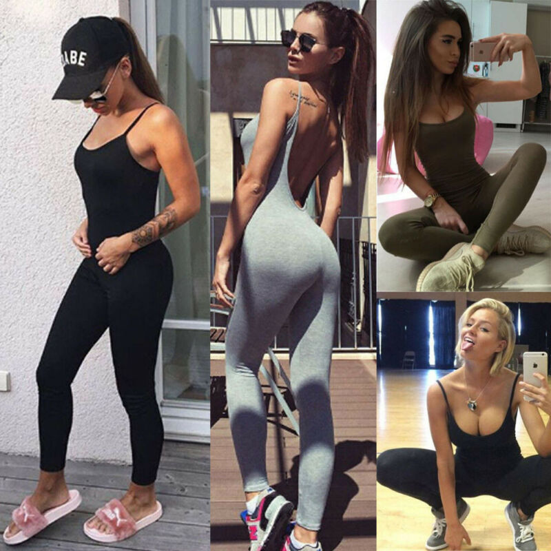 Active Women  Jumpsuit Female One Piece Sports Pants Sexy Backless Workout Clothes Mujer Fitness Running Gym Sport Clothes