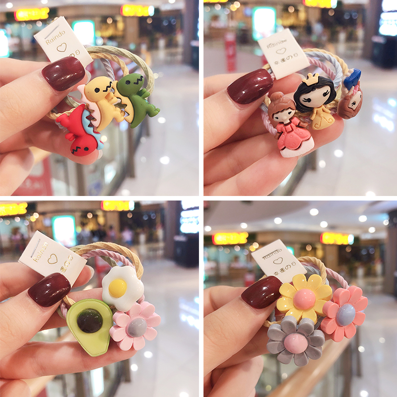 3 Pcs/Set Women Girls Colorful Avocado Flower Elastic Hair Bands Ponytail Holder Cute Rubber Bands Scrunchie Hair Accessories