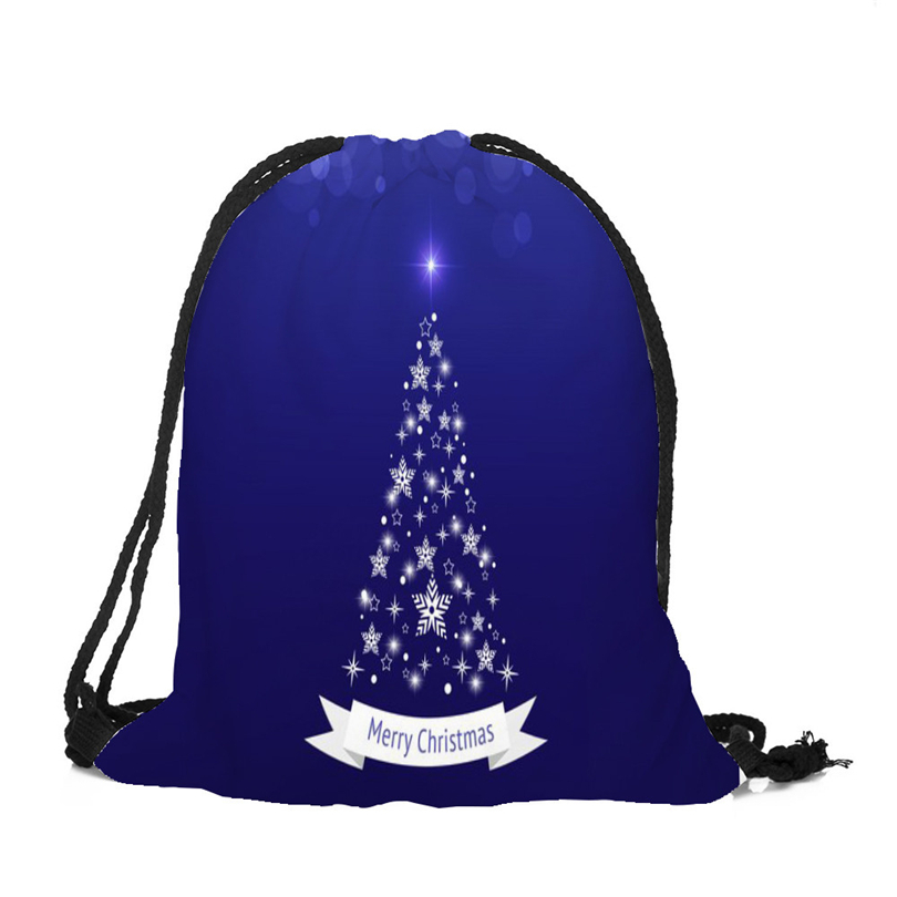 3D Printing Christmas Drawstring Bags Christmas Gifts For Party Favors Candy Pouch Happy New Year Santa Satchel Rucksack A40