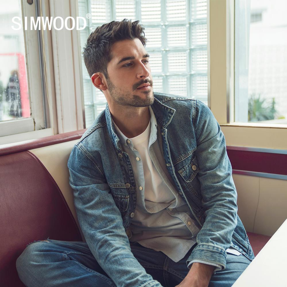SIMWOOD 2020 Spring New Blue Selvedge Denim Jacket Men Fashion Vintage Workwear Plus Size Cargo  Hip Hop Outerwear  SJ120145