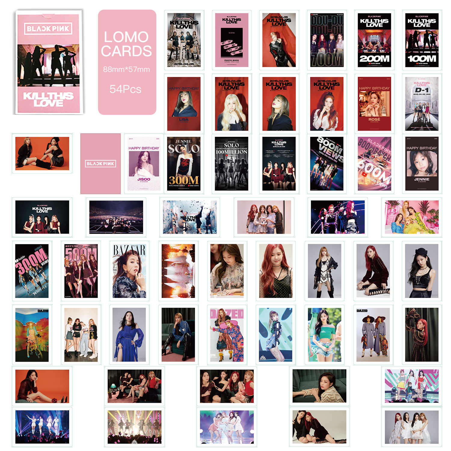 54 pçs/set kpop blackpink lomo cartão novo álbum de fotos jisoo rosa lisa jieene photocard hd álbum cartaz K-POP preto rosa