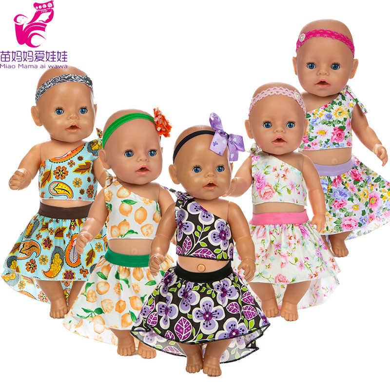 18 インチの人形の服シフォンシャツ dedenim スカートフィットのための 17 インチ 43 センチメートルベビー新生児人形ドレス Outifts