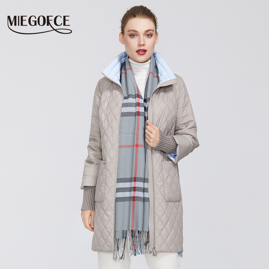 MIEGOFCE 2020 New Women's Coat Spring Women's Fashion Windproof Parkas Female Spring Jacket With Scarf New Design Hot Sale