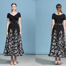 Бальные Танцевальные платья с черным цветочным принтом стандартные танцевальные платья abito ballo standard donna my810