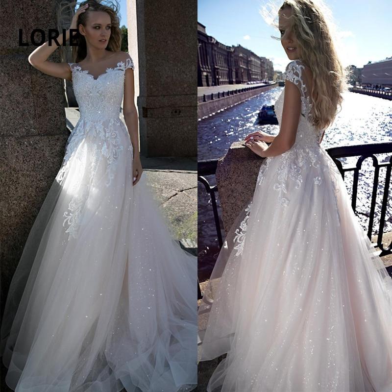 LORIE Elegant Lace Appliques Wedding Dresses 2019 Cap Sleeve Bride Dress Backless Vestido De Noiva Sequin Beach Wedding Gowns