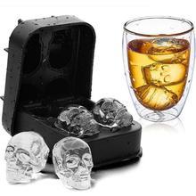 Горячая Распродажа; большие льда лоток для инструментов пудинга 3D череп силиконовые формы 4 полости DIY льдогенератор Хо Применение держать Применение Кухня аксессуары
