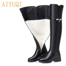 Long Boots Thigh Waterproof Large-Size Women Genuine-Leather AIYUQI Winter