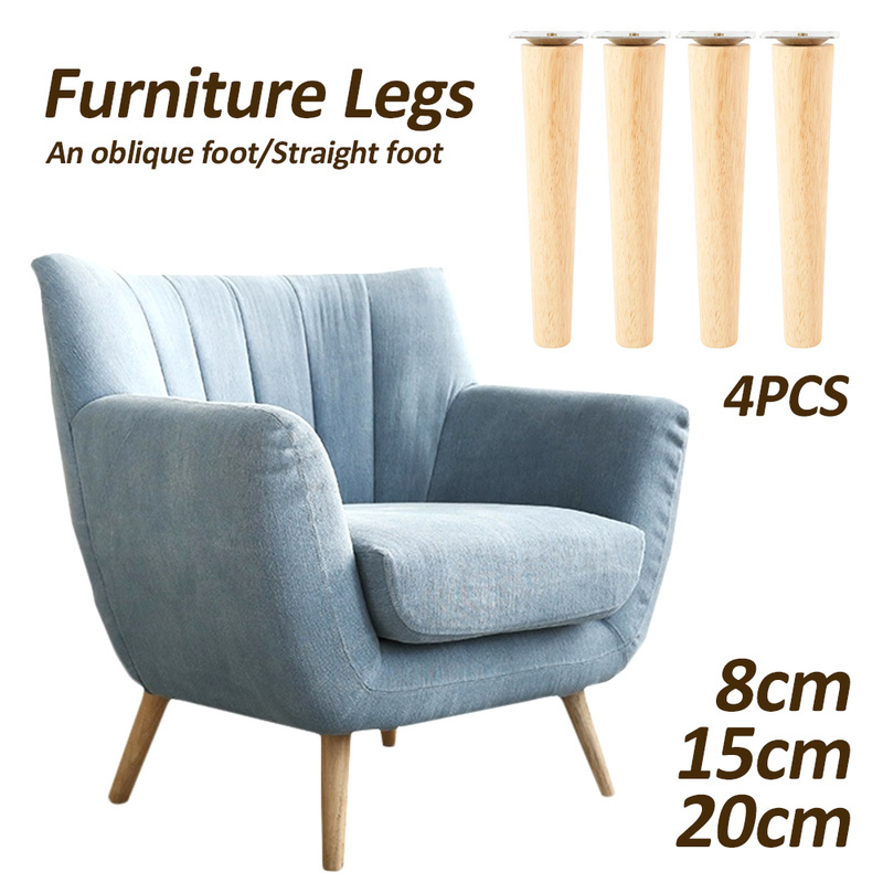 4 Pcs/lot Wooden Sofa Legs Feet Slanting Straight Coffee Table Furniture Level Feets With Metal Plates Cabinet Legs Multi-size