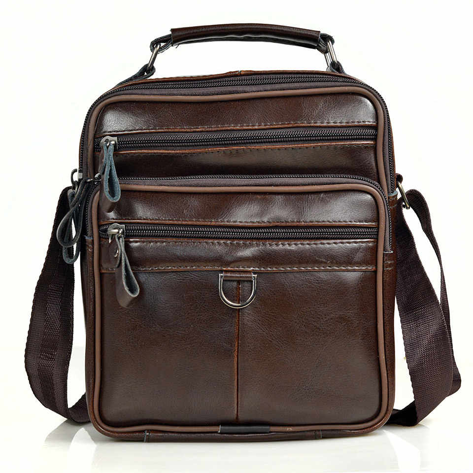 Genuine Leather Handbag Men Fashion Messenger Bags Male Middle Size Business Travel Briefcases Hot Men's Shoulder Bag