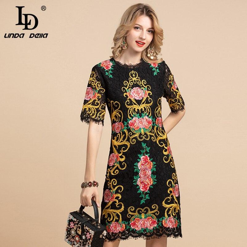 LD LINDA DELLA Summer Fashion Runway Vintage Dress Women's Short Sleeve Gorgeous Black Lace Floral Embroidery Elegant Midi Dress