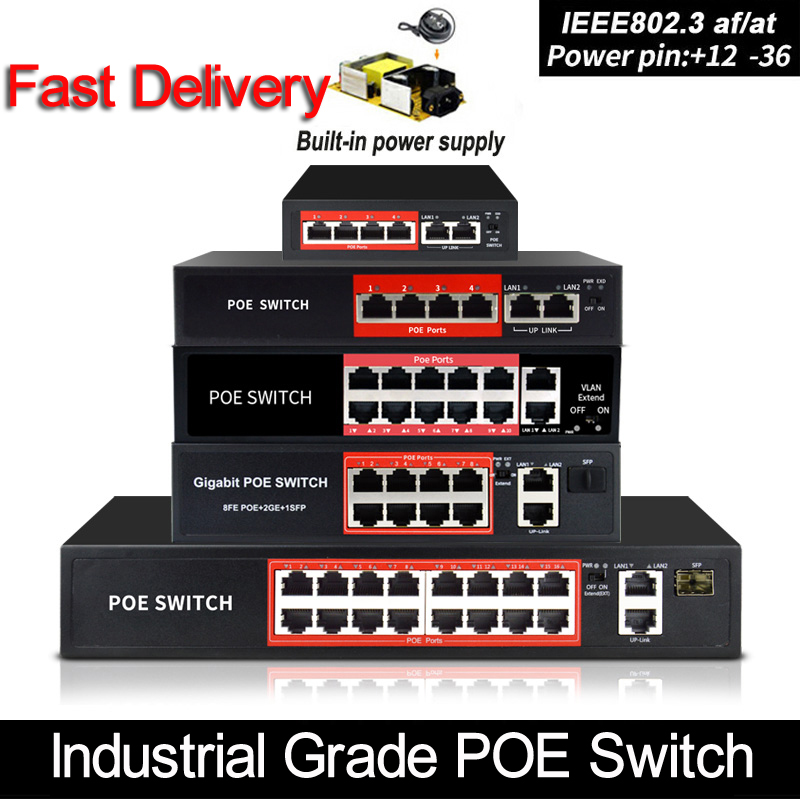 48V POE switch Ethernet with 6 RJ45 Network Ports IEEE 802 3 af at  protocol Suitable for CCTV camera system Wireless AP