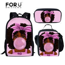FORUDESIGNS 3Pcs/set School Bags For Girls Kids Backpack Children Cartoon Black African American Girl Art Print Schoolbags Mujer