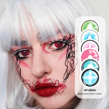UYAAI 2Pcs Pair Halloween Colorful Contact Lenses for Eyes Cosplay Colored Contact Lens Contact Lenses Case Anime Lenses cheap CN(Origin) 14 50mm Two Pieces 0 04-0 06 mm HEMA Beautiful Pupil YS Cosplay 8 6mm 12 month 0 00 Pictures for reference only