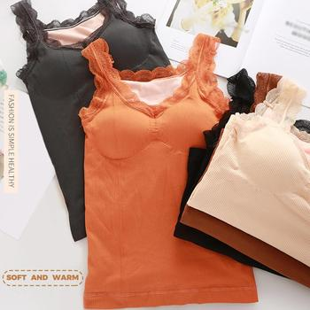 Camisa térmica para mujer sin mangas Chaleco de terciopelo elástico para mujer térmica superior cuello pétalo ropa interior cálida para mujer camisa térmica suave para mujer