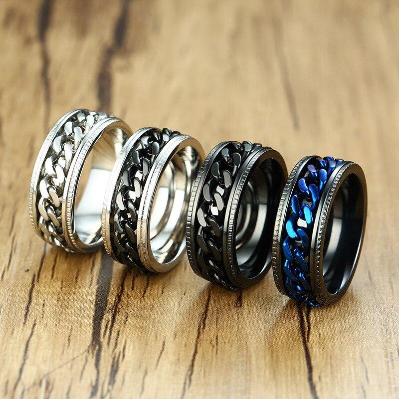 Нержавеющаясталь панк 8 мм прохладный черный прядильная цепь кольцо Для мужчин шин Текстура вращающийся ссылки Кольцо мужское ювелирное и...