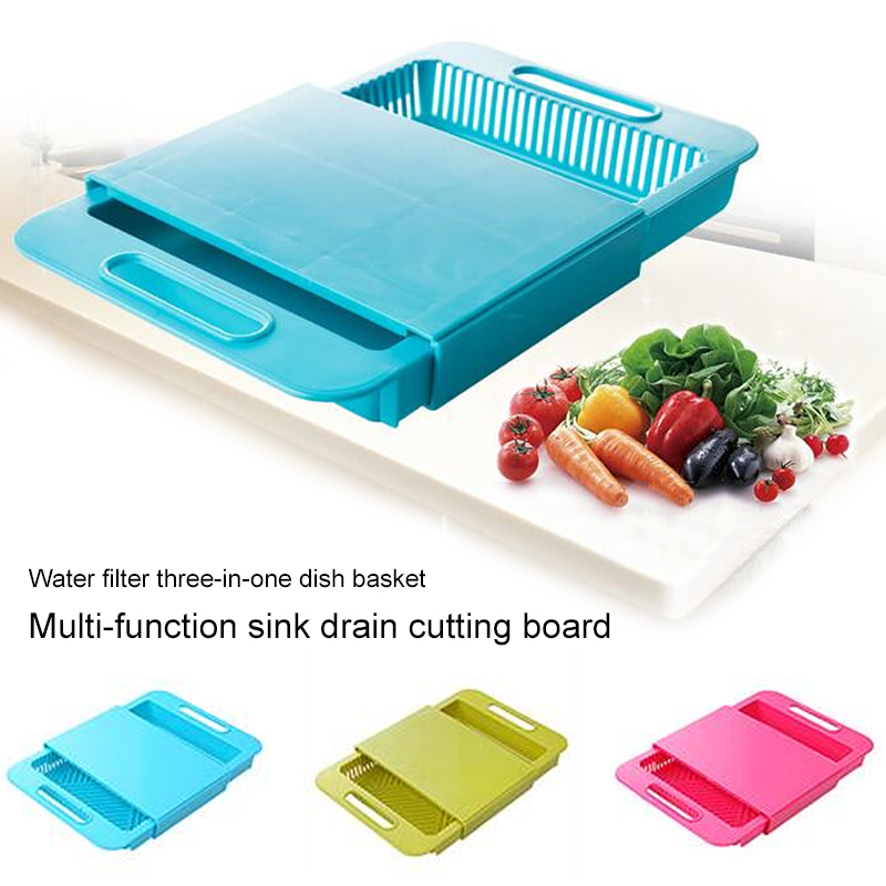Retractable Cutting Board With Handle Kitchen Tool Filter Frame Drain Basket Vegetable Fruit Storage