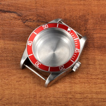 41mm Sapphire Glass Red Aluminum Bezel Watch Parts Case Dial Fit ETA 2824 2836 or Miyota 82 series