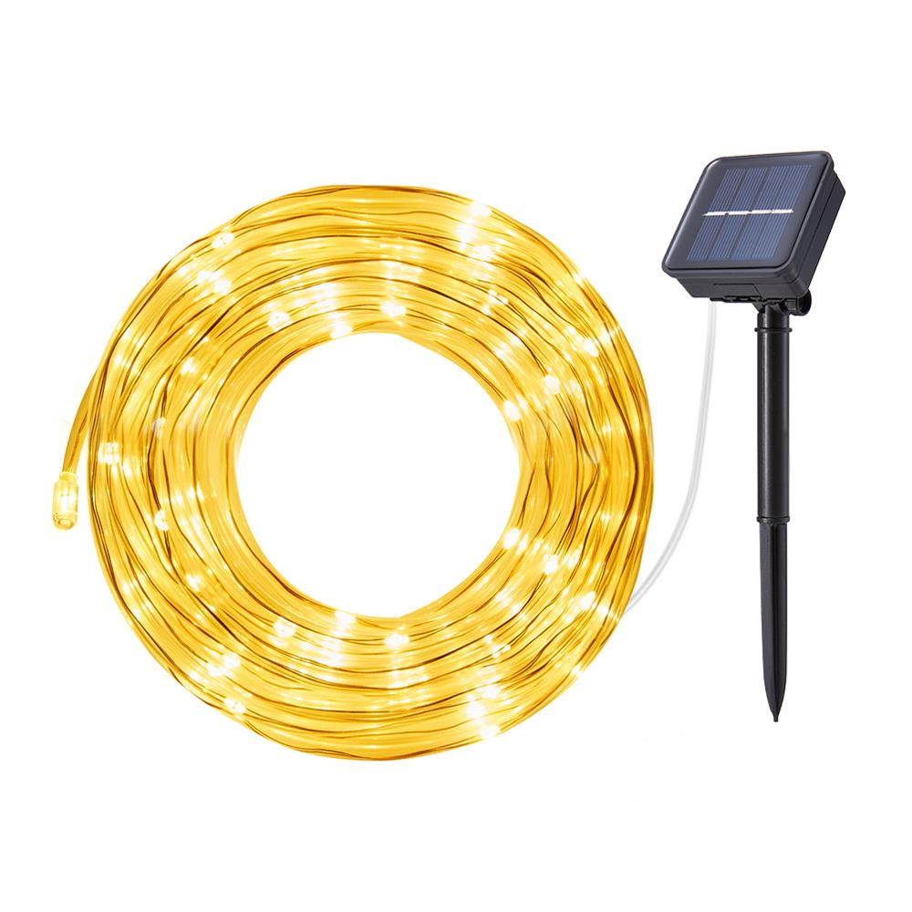 Solar Fairy Lights Rope 100 LED Solar Lights String Copper Wire Tube String Lights For Christmas Garden Decoration