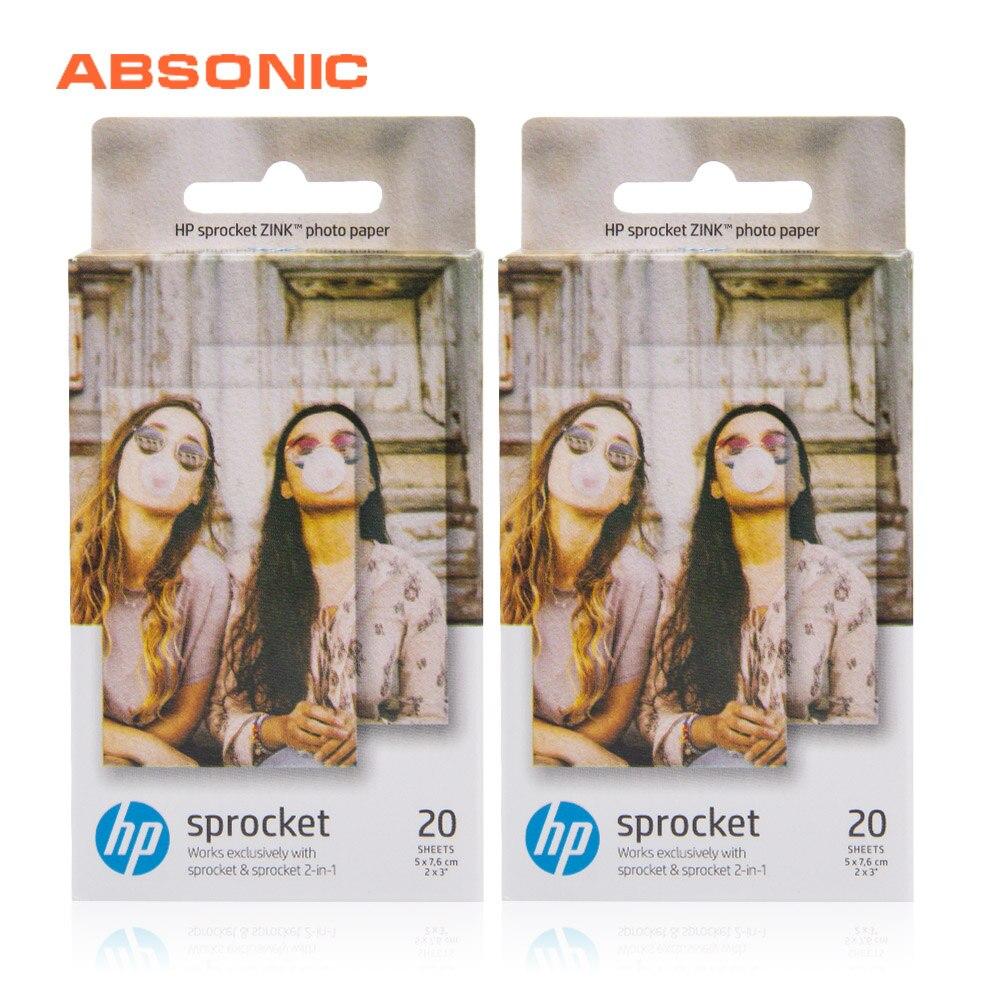 40 sayfa yapışkan destekli dişli Zink fotoğraf kağıdı 2x3-inch HP Sprocket veya dişli 2-in-1 fotoğraf taşınabilir kablosuz yazıcılar