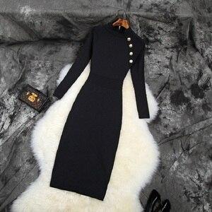 Image 3 - 2019 NIEUWE Elastische Slanke Potlood jurk trui Beroemdheden Club jurken breien herfst volledige mouw werk Vrouwen Winter Party Dress