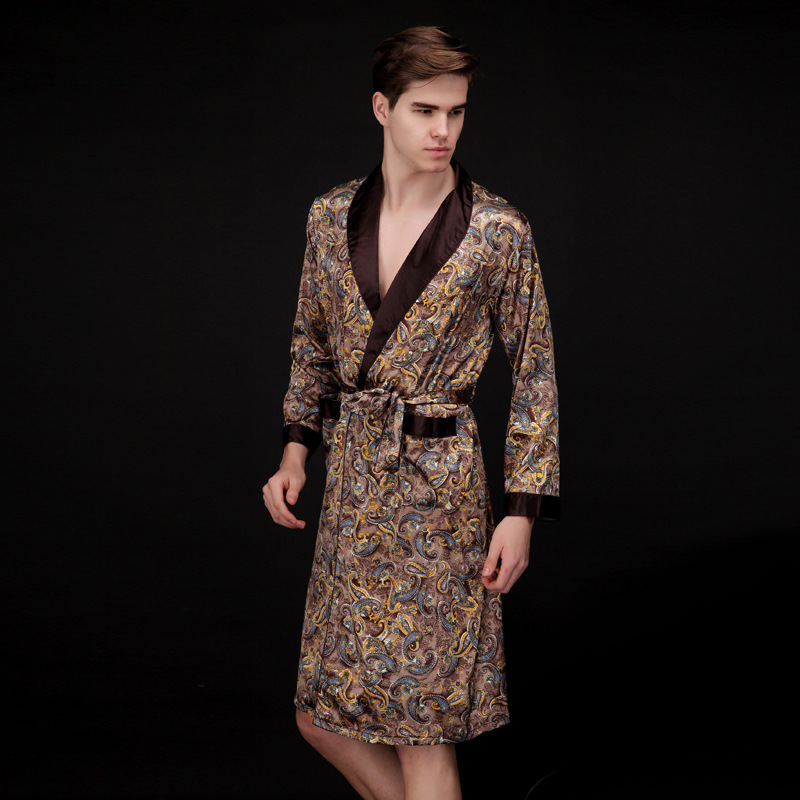 Men Silk Summer And Autumn Kimono Luxury Satin Bathrobe Print Knee Length Long Sleeve Coffee Bath Robe Dressing Gown Sleepwear