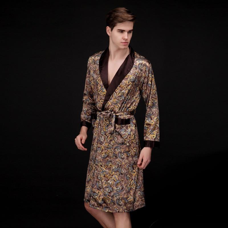 Men Silk Summer And Autumn Kimono Luxury Satin Bathrobe Print Knee Length Long Sleeve Coffee Bath Robe Dressing Gown Sleepwear