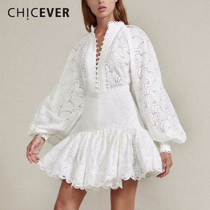 CHICEVER Sexy Hollow out Shirt Skirt Two Piece Sets Female Lantern Sleeve Blouse Tops Women High Waist Patchwork Lace Skirt Suit