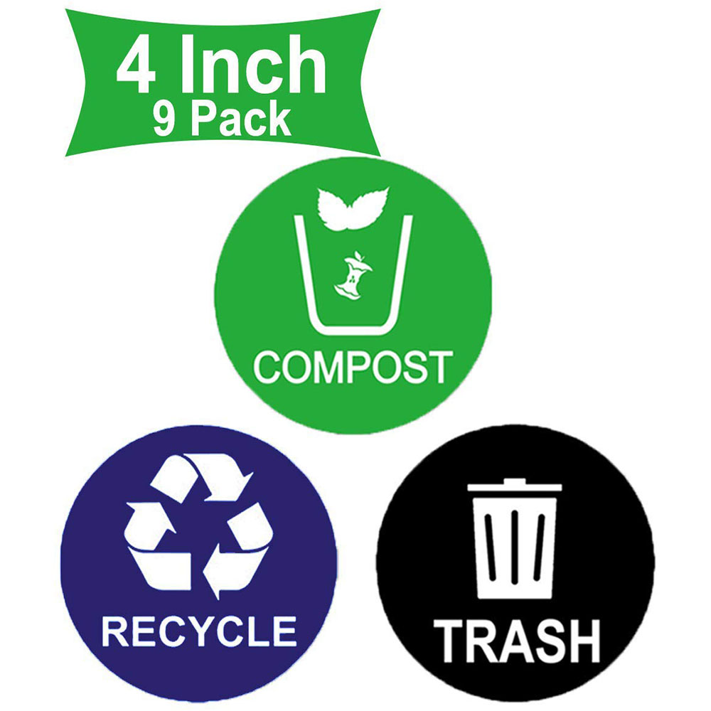 9Pack 4inch Recycle Sticker Trash Bin Label Compost Sign Decal  Waterproof Organize & Coordinate Garbage Waste From Recycling