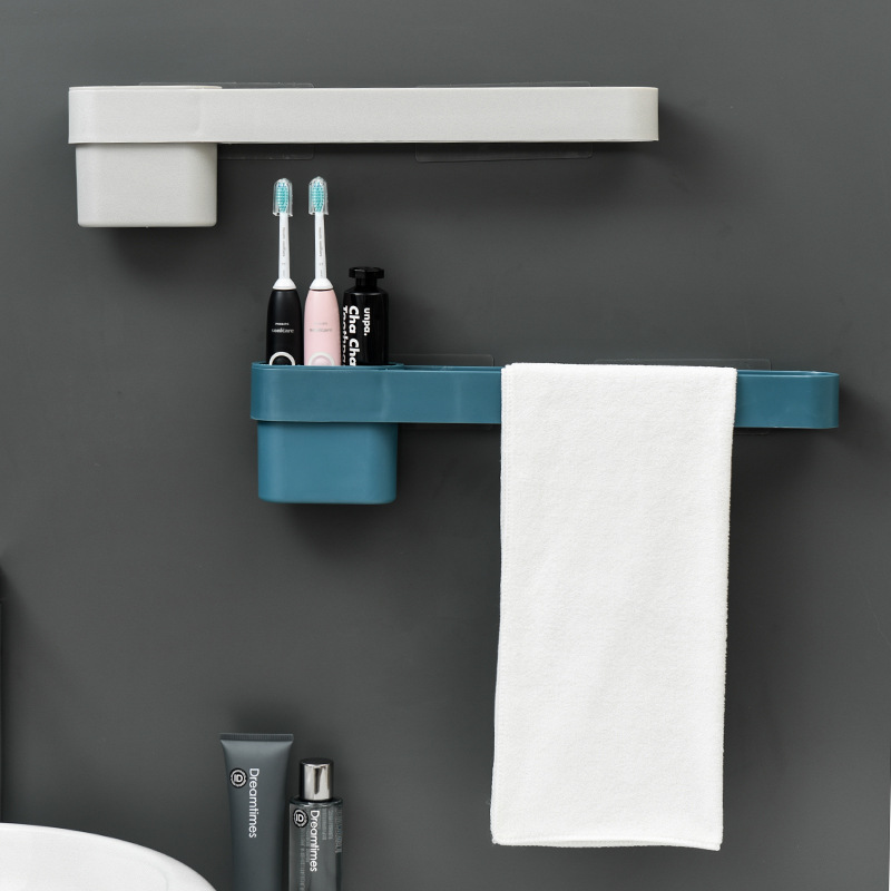 Punch Free Wall Mounted Bathroom Towel Rack Toothbrush Holder Plastic Long Single Towel Storage Organization Kitchen Towel Bar Storage Holders Racks Aliexpress