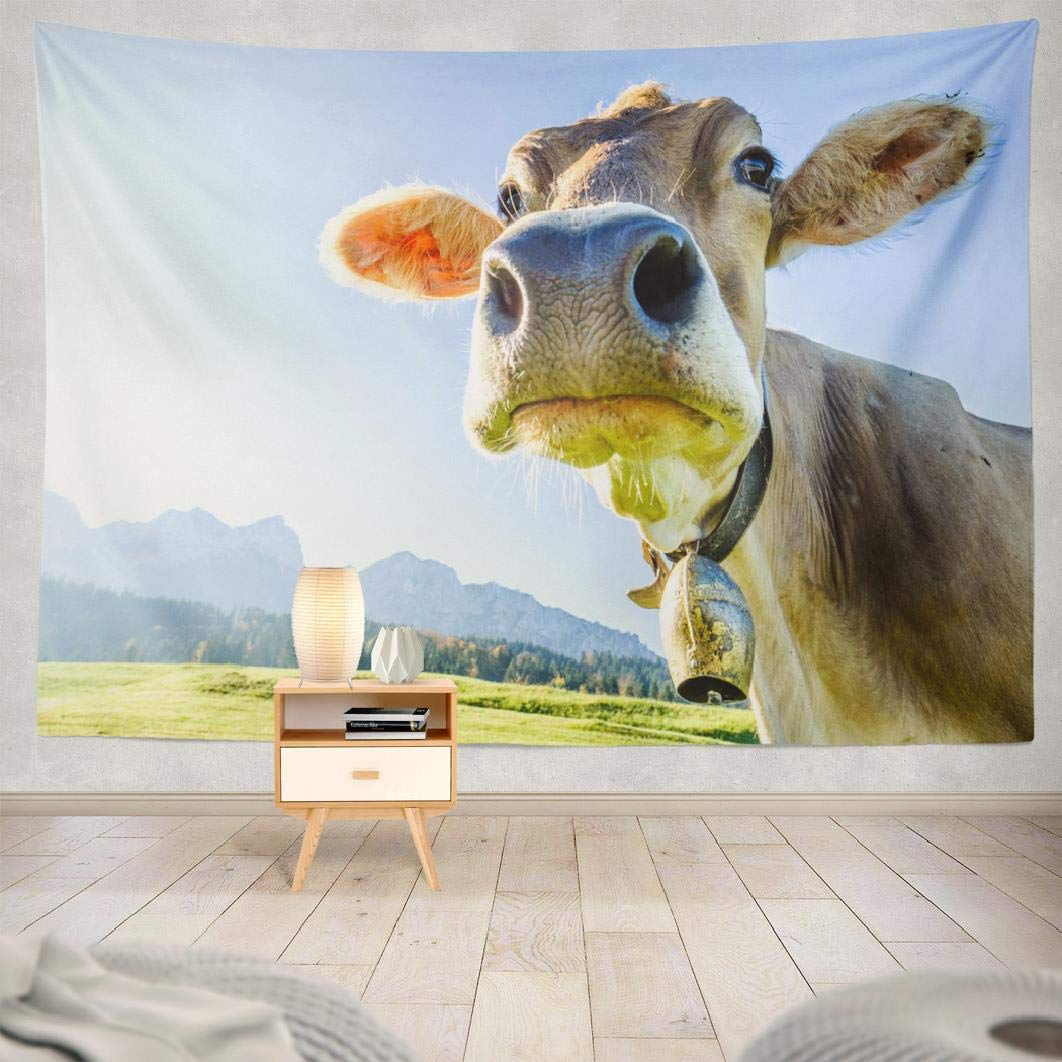 Funny Cow Mountain Brown Animal Autumn Decorative Tapestry Polyester Bedroom Living Room