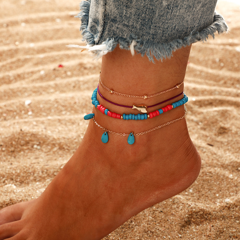 Layered Bead Gold Shell Pendant Chain Ankle Bracelet On Leg Foot Jewelry Boho Charm Anklets for Women Accessories Mujer