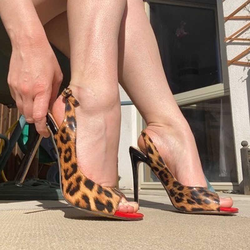 Onlymaker damskie Peep Toe 12cm buty na cienkich wysokich obcasach pompy sandały damskie buty z wystającym palcem duże rozmiary letnie szpilki sandały