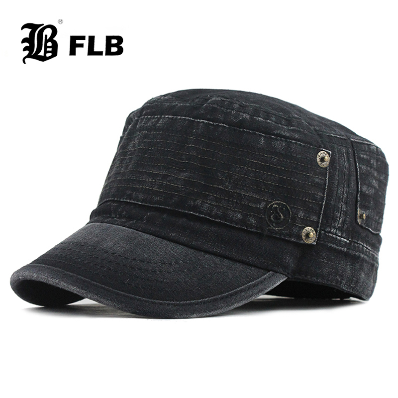 [FLB] 2022 Classic Vintage Flat Top Mens Washed Caps Hat Adjustable Fitted Thicker Cap Winter Warm Military Hats For Men F395